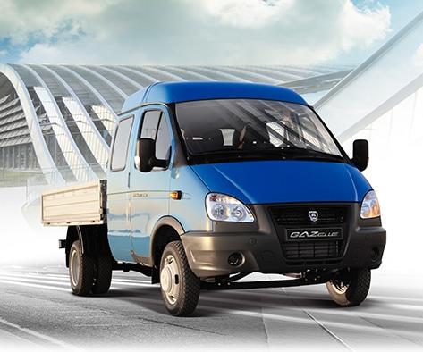 Автомобиль ГАЗель с грузовой платформой, синий. Вид справа
