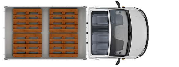 Схема размещения палет ГАЗель Next Борт 3,5 тонн, стандартная база