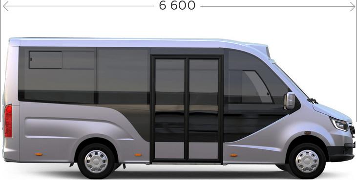 Габаритные размеры низкопольного автобуса ГАЗЕЛЬ CITY. Вид сбоку