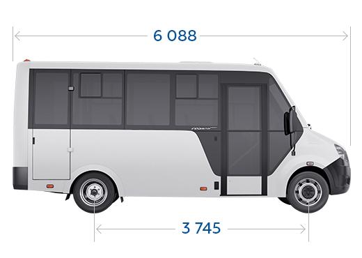 Габариты каркасного автобуса ГАЗель NEXT Citiline, вид сбоку