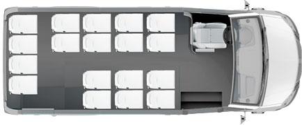 Расположение мест в пригородном микроавтобусе ГАЗель NEXT Citiline 18+0+1