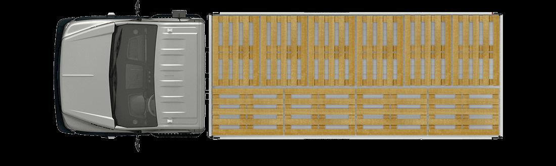 Схема размещения палет, стандартная платформа. Вид сверху