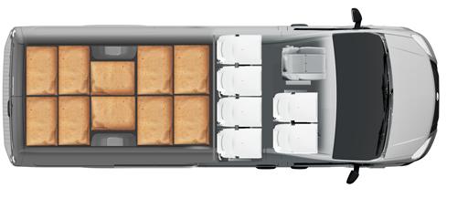 Схема размещения палет ГАЗель Next ЦМФ 3,5 тонн, удлиненная база