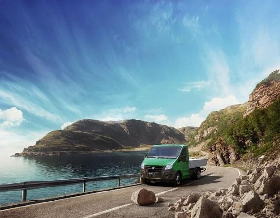 Автомобиль Газель NEXT Борт 3,5 тонн, зеленый. Вид слева