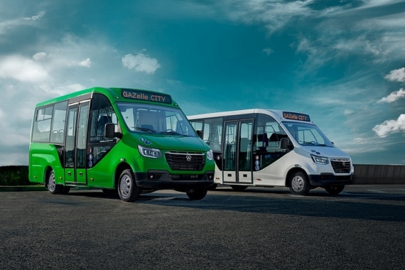 Низкопольные автобусы ГАЗЕЛЬ CITY, зеленый и белый