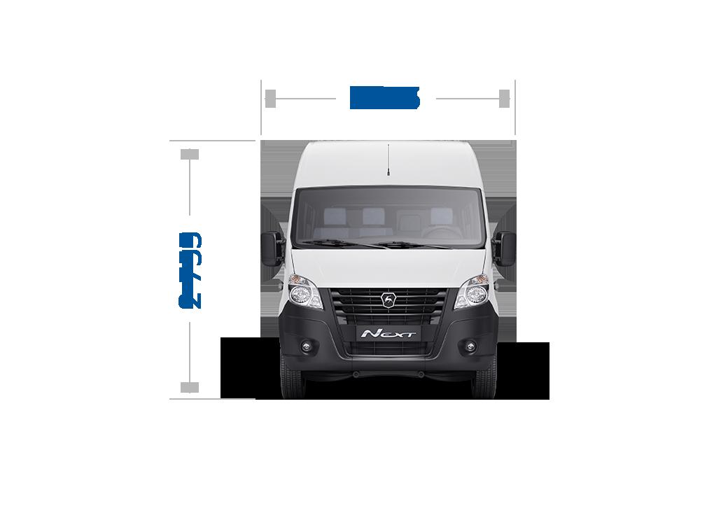 Габаритные размеры ГАЗель Next Автобус ЦМФ, Кабина до 14 мест. Вид спереди