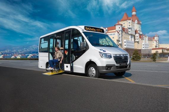 Откидная аппарель в низкопольном автобусе ГАЗЕЛЬ CITY