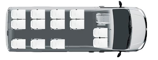 Туристический микроавтобус Газель NEXT, 13+0+1 мест, белый. Вид сверху