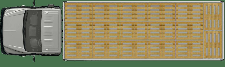 Схема размещения палет, широкая платформа. Вид сверху