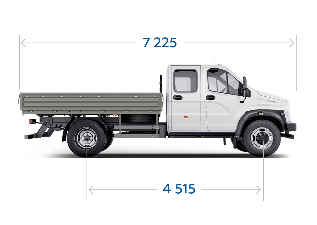Габариты ГАЗон NEXT 8,7 тонн Универсальный, 7 мест стандартная база. Вид сбоку