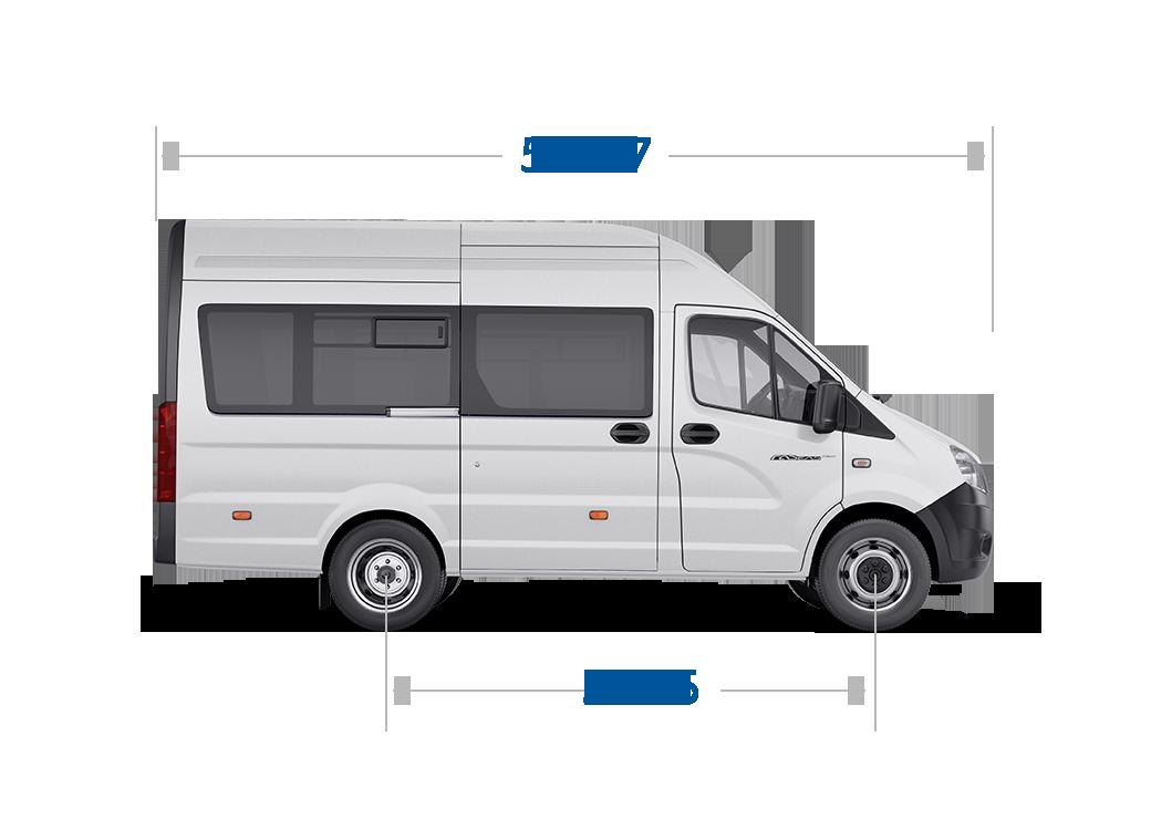 Габаритные размеры ГАЗель Next Автобус ЦМФ, до 14 мест. Вид справа