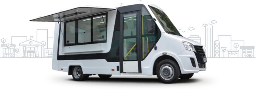 Автолавка для мобильной торговли на базе ГАЗель Next, белая. Вид сбоку