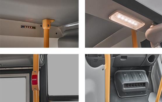 ГАЗель Next Автобус. Кнопки требования остановки и световое табло Stop в салоне