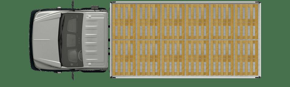 Схема размещения палет ГАЗон Next 8,7 ТОНН City, широкая платформа. Вид сверху