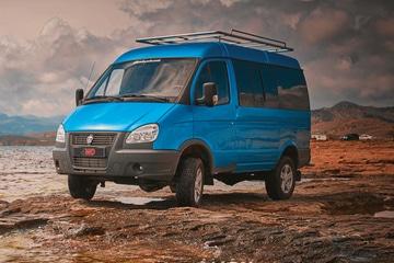 Автомобиль на базе ГАЗ 4WD, синий. Вид слева