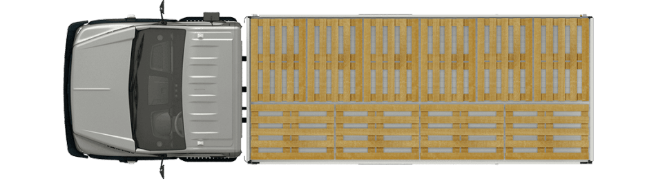 Схема размещения палет ГАЗон Next 8,7 ТОНН City, стандартная платформа. Вид сверху