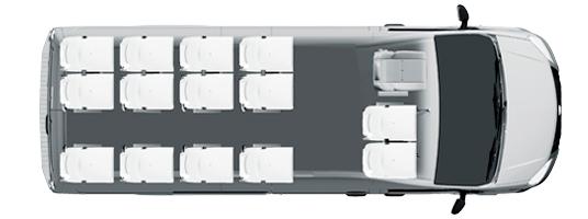 Городской микроавтобус 14+3+1, компоновка