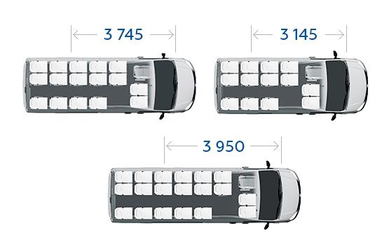 Линейка автобусов ГАЗель Next пассажировместимостью от 14 до 22 места и различной компоновкой сидений