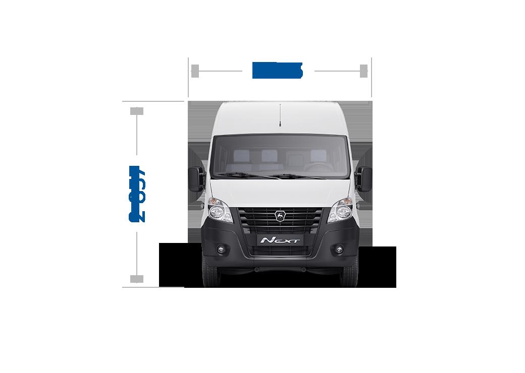 Габаритные размеры ГАЗель Next Автобус ЦМФ, Кабина до 17 мест. Вид спереди