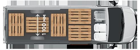 Схема размещения палет ГАЗель Next ЦМФ 4,6 тонн, сверхдлинная база
