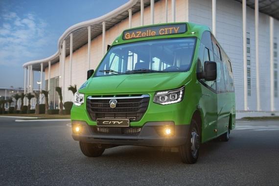 Низкопольный автобус ГАЗЕЛЬ CITY, зеленый. Вид спереди
