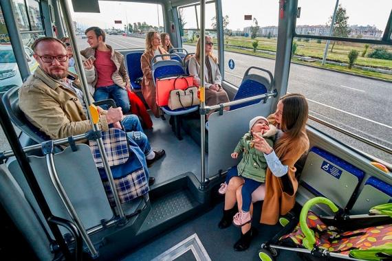 Салон в низкопольном автобусе ГАЗЕЛЬ CITY