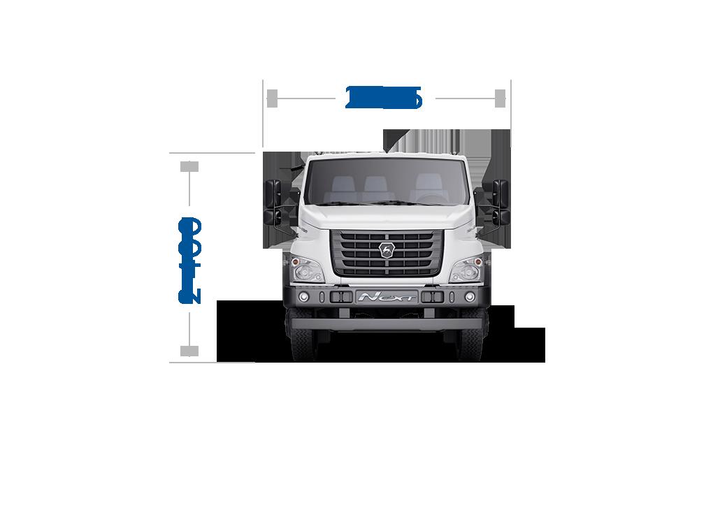 Габариты кабины ГАЗон NEXT 8,7 тонн Универсальный. Вид спереди