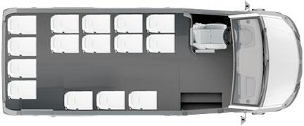 Расположение мест в туристическом микроавтобусе ГАЗель NEXT Citiline 15+0+1