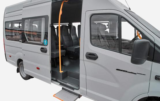 Высокий проем боковой двери и низкая подножка с электроприводом в салоне ГАЗель NEXT Автобус