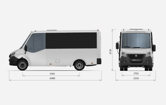 Размеры кузова ГАЗель Next Автобус Citiline
