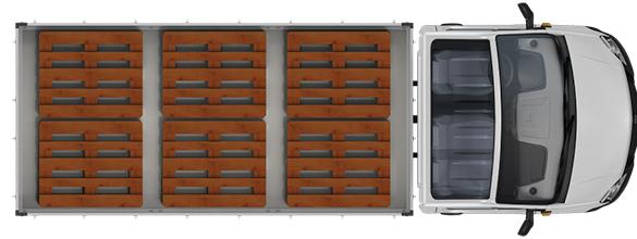 Схема размещения палет ГАЗель Next Борт 4,6 тонн, удлиненная база 7 мест