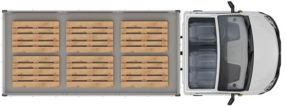 Схема размещения палет ГАЗель Next Борт 4,6 тонн, удлиненная база 3 места