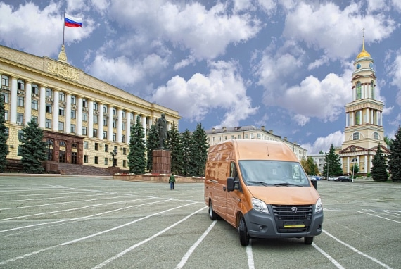Автомобиль ГАЗель Next ЦМФ, марон. Вид справа