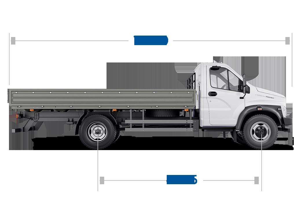 Габариты ГАЗон NEXT 8,7 тонн Универсальный, 3 места стандартная база. Вид сбоку