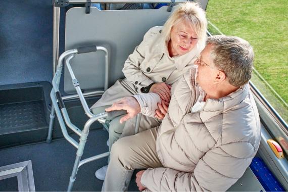 Места для людей с ограниченными возможностями в низкопольном автобусе ГАЗЕЛЬ CITY